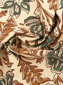 Kissenhülle Summerleaves mit Fransen, 100% Baumwolle, Creme, Grün, Braun, 50 x 50 cm
