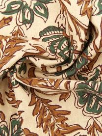 Federa arredo con frange Summerleaves, 100% cotone, Crema, verde, marrone, Larg. 50 x Lung. 50 cm