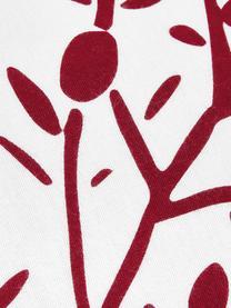 Pościel z flaneli Mistletoe, Biały, czerwony, 240 x 220 cm + 2 poduszki 80 x 80 cm