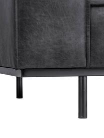 Sofa ze skóry z metalowymi nogami Abigail (2-osobowa), Tapicerka: skóra naturalna (70% skór, Nogi: stal lakierowana, Ciemny szary, S 190 x G 95 cm