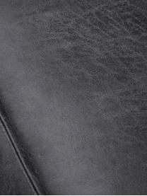 Leren bank Abigail (2-zits) in donkergrijs met metalen poten, Bekleding: gebonden leer (70% leer, , Poten: gelakt staal, Leer donkergrijs, B 190 x D 95 cm