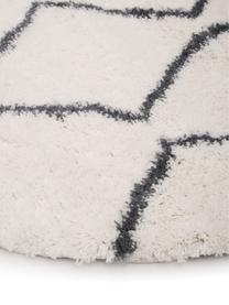 Hochflor-Teppich Velma in Cremeweiß/Dunkelgrau, Flor: 100% Polypropylen, Cremeweiß, Dunkelgrau, Ø 150 cm (Größe M)
