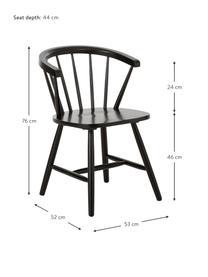 Krzesło z podłokietnikami z drewna w stylu windsor Megan, 2 szt., Drewno kauczukowe, lakierowane, Czarny, S 53 x G 52 cm