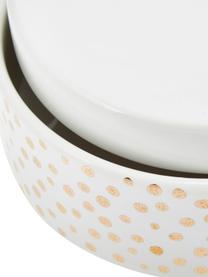 Set 2 contenitori in ceramica Lashes, Ceramica, Bianco, dorato, Set in varie misure