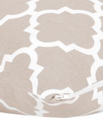 Federa arredo con motivo grafico Lana, 100% cotone, Beige, bianco, Larg. 45 x Lung. 45 cm