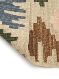 Ręcznie tkany dywan kilim z wełny z frędzlami Olon, 100% wełna, Wielobarwny, S 125 x D 185 cm (Rozmiar S)