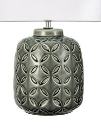 Keramik-Tischlampe Glowing Bloom, Lampenschirm: Stoff, Lampenfuß: Keramik, Grau, Weiß, Ø 25 x H 40 cm