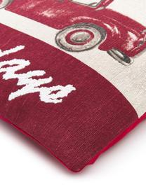 Kissenhülle Happy Holidays mit feinen bestickten Details, 100% Baumwolle, Beige, Rot, Grün, 45 x 45 cm