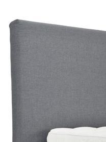 Premium Boxspringbett Eliza in Grau, Matratze: 5-Zonen-Taschenfederkern, Füße: Massives Birkenholz, lack, Webstoff Grau, 140 x 200 cm