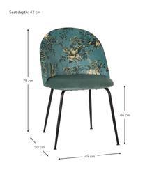 Krzesło tapicerowane Hojas, Tapicerka: 100% poliester, Stelaż: drewno naturalne, Nogi: metal, Odcienie niebieskiego, czarny, S 49 x G 50 cm