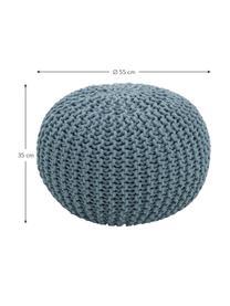 Pouf a maglia fatto a mano Dori, Rivestimento: 100% cotone, Petrolio, Ø 55 x Alt. 35 cm