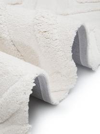 Zacht boho hoogpolig vloerkleed Magda met verhoogd hoog-laag patroon, Bovenzijde: microvezels (100% polyest, Onderzijde: 55% polyester, 45% katoen, Beige, B 120 x L 180 cm (maat S)