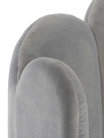 Grijs fluwelen gestoffeerd bed Glamour met hoofdeinde, Frame: massief grenenhout, Poten: vermessingd metaal, Bekleding: fluweel (polyester), Bekleding: grijs. Poten: glanzend goudkleurig, 160 x 200 cm