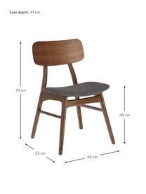 Sedia in legno Selia 2 pz, Struttura: legno di albero della gom, Rivestimento: poliestere, Grigio scuro, marrone scuro, Larg. 48 x Prof. 53 cm