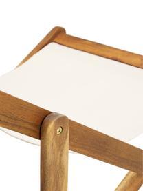 Składany leżak Zoe, Stelaż: lite drewno akacjowe, ole, Biały, S 59 x G 84 cm