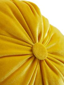 Kleiner Samt-Deko-Kürbis Pumpis, 15% Polyresin, 35% Acryl, 25% Polyester, 25% Quartzsandfüllung, Gelb, Ø 19 x H 17cm