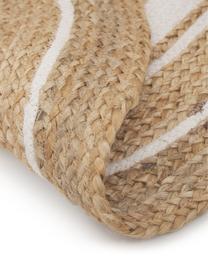 Runder Jute-Teppich Clover, handgefertigt, 75% Jute, 24% Baumwolle, 1% Polyester, Beige, Weiß, Ø 120 cm (Größe S)