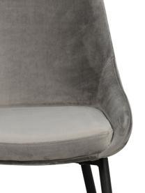 Sillas de terciopelo Sierra, 2uds., Tapizado: terciopelo de poliéster 1, Patas: metal pintado, Gris, negro, An 49 x F 55 cm