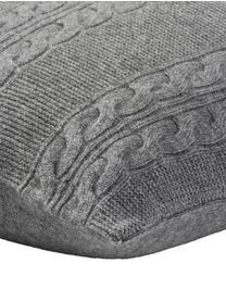 Federa arredo in puro cashmere Leonie con motivo a trecce, 100% cashmere Il cashmere è molto morbido, confortevole e caldo, Grigio scuro, Larg. 40 x Lung. 40 cm