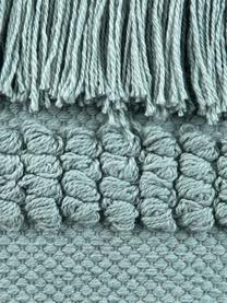 Kissenhülle Monika in Salbeigrün mit Fransendekor, 100% Baumwolle, Salbeigrün, 30 x 50 cm