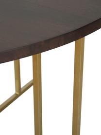 Tavolo rotondo con piano in legno massiccio Luca, Piano d'appoggio: legno di mango massiccio , Struttura: metallo verniciato a polv, Piano d'appoggio: legno di mango verniciato scuro Struttura: dorato, Ø 120 x Alt. 75 cm