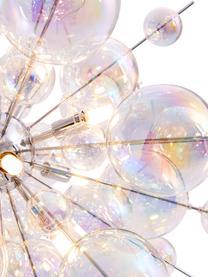 Pendelleuchte Explosion aus Glaskugeln, Baldachin: Metall, verchromt, Chrom, Transparent, irisierend, Ø 65 x H 150 cm
