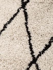Ručně všívaný načechraný koberec s vysokým vlasem Nouria, Béžová, černá