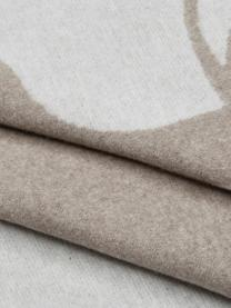 Coperta soffice beige/marrone con cucitura trapuntata Sylt Hirsch, 85% cotone, 8% viscosa, 7% poliacrilico, Beige, Larg. 140 x Lung. 200 cm