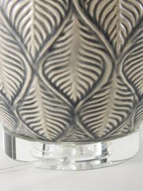 Große Keramik-Tischlampe Brooklyn, Lampenschirm: Textil, Lampenfuß: Keramik, Sockel: Kristallglas, Weiß, Grau, Ø 33 x H 53 cm