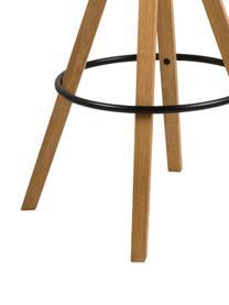 Krzesło barowe Dima Textile, 2 szt., Tapicerka: poliester 25 000 cykli w , Nogi: drewno kauczukowe, bejcow, Jasny szary, drewno dębowe, S 49 x W 112 cm