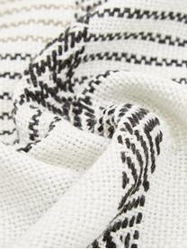 Plaid etnico in PET riciclato Aztec, PET riciclato, Bianco latteo, nero, beige, Larg. 130 x Lung. 180 cm