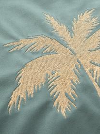 Glänzende Samt-Kissenhülle Palmsprings mit Stickerei, 100% Polyestersamt, Mint, Goldfarben, 40 x 40 cm