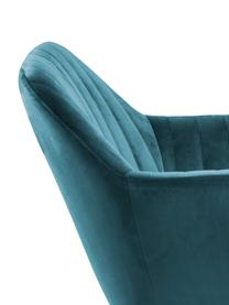 Sedia imbottita in velluto Emilia, Rivestimento: velluto di poliestere Con, Gambe: metallo laccato, Velluto: blu, gambe: nero, Larg. 57 x Prof. 59 cm