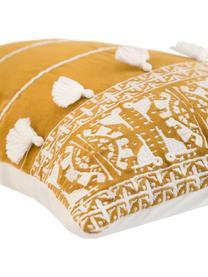 Federa arredo con ricamo e nappe Neo Berbère, 50% cotone, 50% poliestere, Giallo, bianco, Larg. 30 x Lung. 50 cm