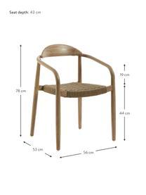 Krzesło z podłokietnikami z litego drewna Nina, Stelaż: lite drewno eukaliptusowe, Brązowy, S 56 x G 53 cm