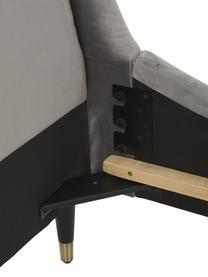 Gestoffeerd fluwelen bed Nova, Frame: massief grenenhout, multi, Bekleding: polyester (fluweel), Poten: massief rubberhout, gelak, Fluweel grijs, 180 x 200 cm