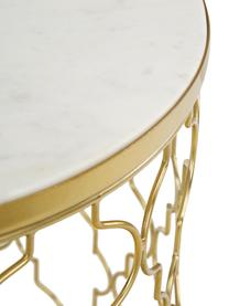 Marmeren bijzettafel set Blake, 2-delig, Frame: gepoedercoat metaal, Tafelblad: marmer, Tafelplaat: wit marmer. Frame: goudkleurig, Set met verschillende formaten