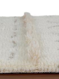 Alfombra artesanal de lana Lakota Day, estilo étnico, Parte superior: 100%lana, Reverso: algodón reciclado, Crema, beige, gris oscuro, An 80 x L 140 cm (Tamaño XS)