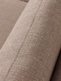 Hoekbank Cucita (4-zits) in taupe met metalen poten, Bekleding: geweven stof (polyester), Frame: massief grenenhout, Poten: gelakt metaal, Geweven stof taupe, B 302 x D 163 cm
