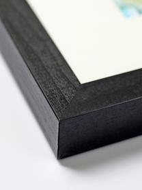 Stampa digitale incorniciata Abstract, Immagine: stampa digitale su carta,, Cornice: legno di faggio verniciat, Nero, bianco, dorato, Larg. 53 x Alt. 63 cm