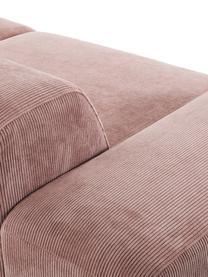 Cord-Sofa Melva (3-Sitzer) in Rosa, Bezug: Cord (92% Polyester, 8% P, Gestell: Massives Kiefernholz, Spa, Füße: Kiefernholz, Cord Rosa, B 240 x T 101 cm