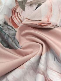 Samt-Kissenhülle Blossom mit Blumen-Print, 100% Polyestersamt, Rosa, 45 x 45 cm