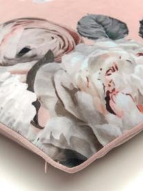 Federa arredo in velluto con stampa floreale Blossom, 100% velluto di poliestere, Rosa, Larg. 45 x Lung. 45 cm
