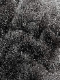 Alfombra artesanal de pelo largo brillante Jimmy, Parte superior: 100%poliéster, Reverso: 100%algodón, Gris oscuro, An 300 x L 400 cm (Tamaño XL)