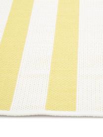 Gestreept in- & outdoor vloerkleed Axa in geel/wit, 86% polypropyleen, 14% polyester, Crèmewit, geel, B 200 x L 290 cm (maat L)