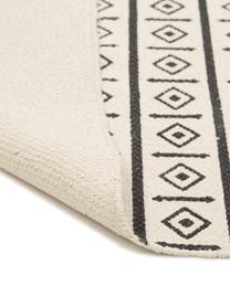 Handgewebter Baumwollteppich Edna im Ethno Style, 100% Baumwolle, Cremeweiß, Schwarz, B 120 x L 180 cm (Größe S)