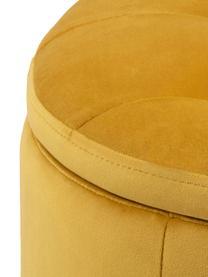Samt-Hocker Retina mit Stauraum, Bezug: Polyestersamt 25.000 Sche, Gestell: Kunststoff, Gelb, Ø 60 x H 35 cm