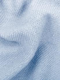 Plaid azzurro con frange Madison, 100% cotone, Azzurro, Larg. 140 x Lung. 170 cm