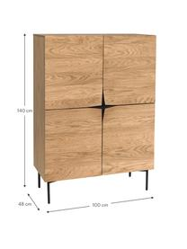 Highboard Filip aus Eichenholzfurnier mit Türen, Korpus: Sperrholz mit Eichenholzf, Füße: Metall, pulverbeschichtet, Eichenholz, Schwarz, 100 x 140 cm