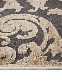 Tappeto in viscosa con effetto a rilievo Marigot, Retro: 100% viscosa, Grigio, crema, Larg. 160 x Lung. 230 cm